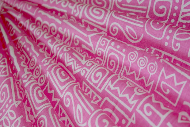 Pink White Abstract Printed Pure Cotton Fabric
