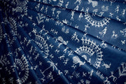 Navy Blue White Warli Art Printed Pure Cotton Fabric