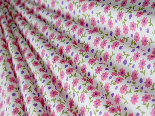 White Pink Purple Floral Pure Cotton Fabric
