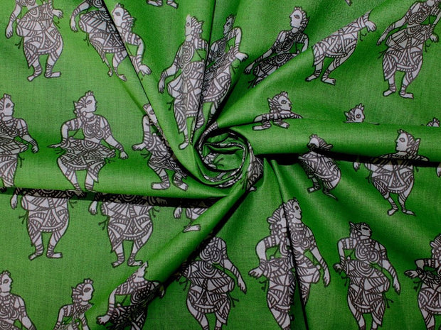 Green Dancers Pure Cotton Fabric