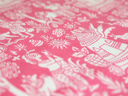 Pink Warli Printed Pure Cotton Fabric (4516335484997)