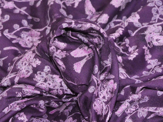 Purple Floral Digital Printed Rayon Fabric