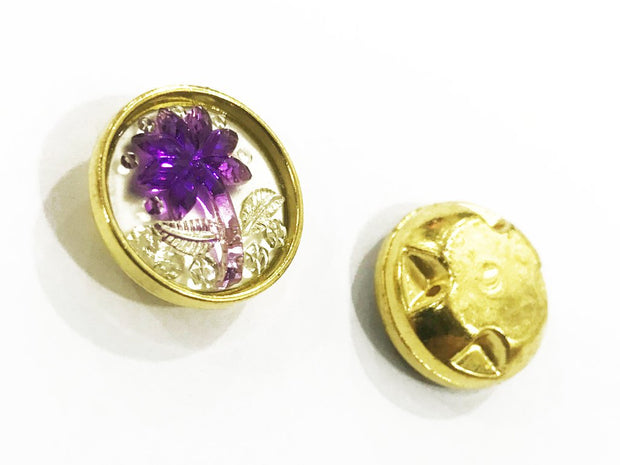 Purple Flower Golden Frame Circular Plastic Show Button