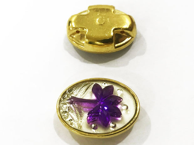 Purple Flower Golden Frame Oval Plastic Show Button (25x18 mm)
