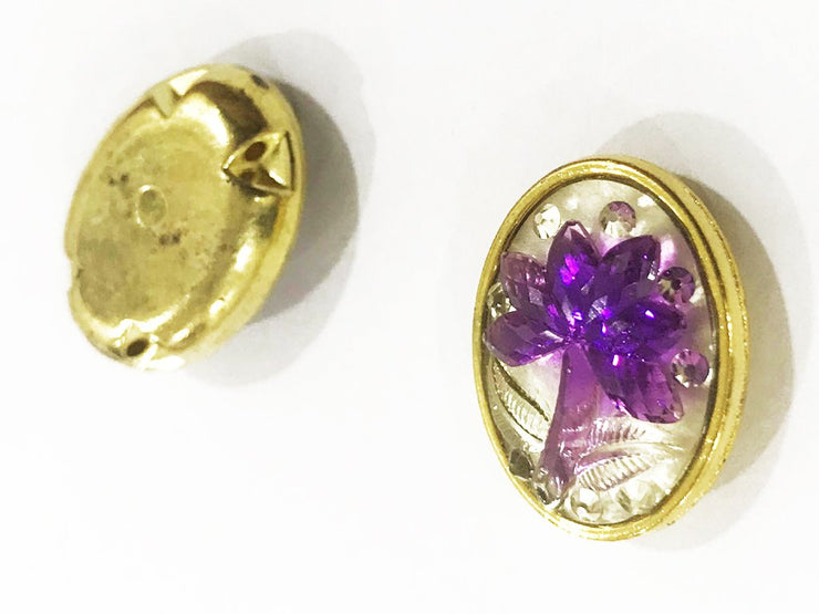 Purple Flower Golden Frame Oval Plastic Show Button (4544314900549)