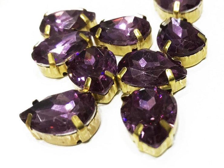 Purple Opal Drop Resin Stones with Catcher (18x13 mm) (4538851000389)