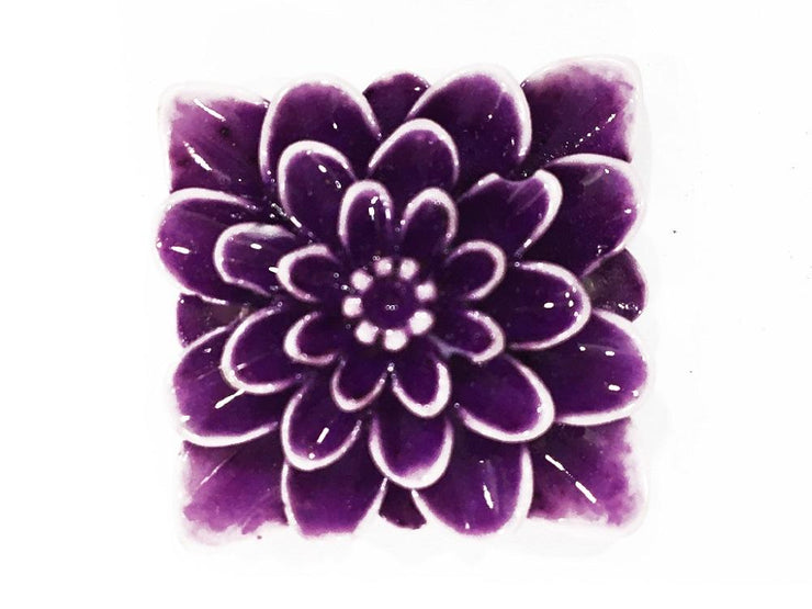 Purple Square Resin Flower Stones (With Hole- 32x32 mm) (4545377599557)