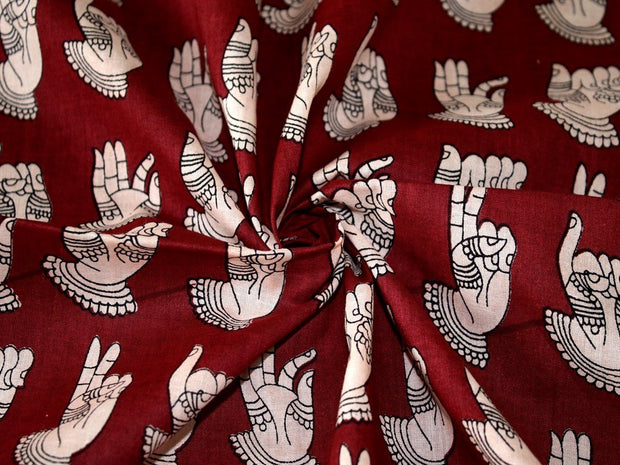 Maroon Hands Print Design Cotton Fabric (1707983011874)