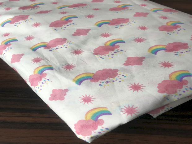 White Pink Rainbow Printed Poplin Cotton Fabric