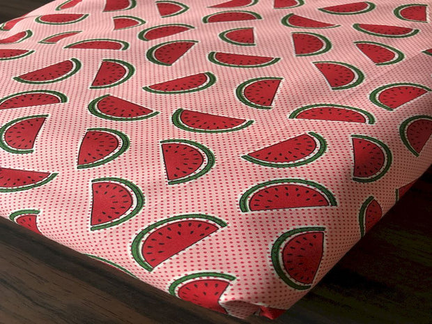 Pink Water Melons Printed Poplin Cotton Fabric