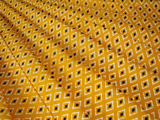 Yellow Printed Design Cotton Fabric