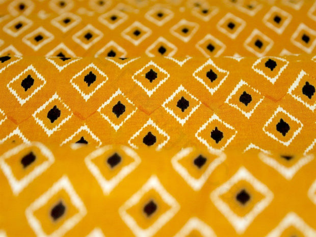 Yellow Printed Design Cotton Fabric | The Design Cart