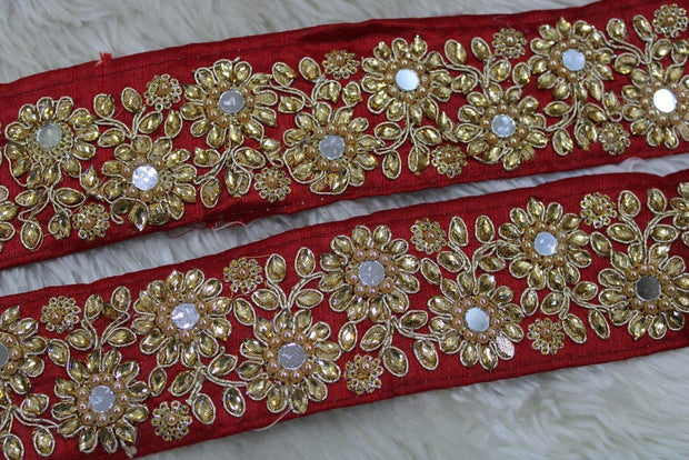Red Embellished Stone and Mirror Work Lace Border