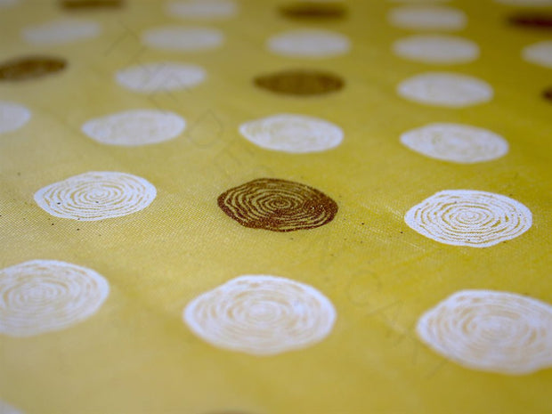 Polka Dots Khadi Gold Print Chanderi Polyester Fabric | The Design Cart (3836584362018)