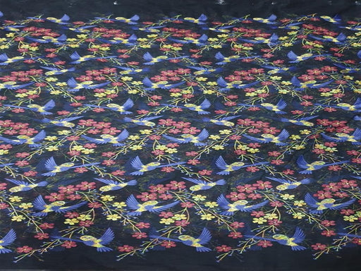 Black Blue Birds Embroidered Net Fabric