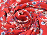 Red Blue White Flowers Digital Printed Viscose Crepe Fabric