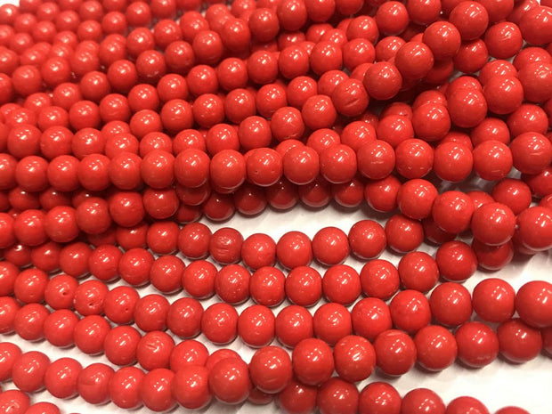 Red Circular Pressed Glass Beads- 6 mm