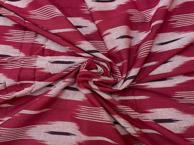Red Off White Abstract Printed Cotton Ikat Fabric