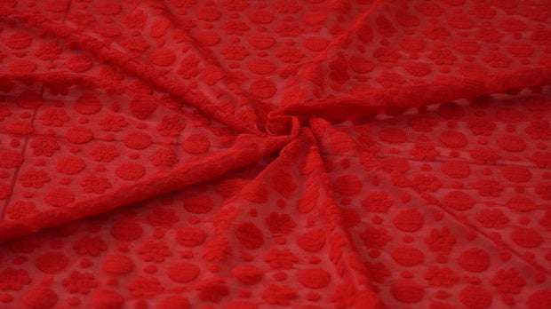 Red Floral Embroidered Pure Georgette Fabric | The Design Cart