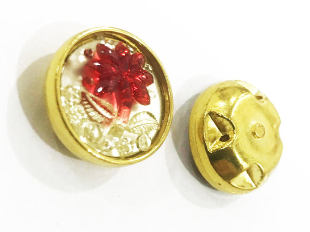 Red Flower Golden Frame Circular Plastic Show Button