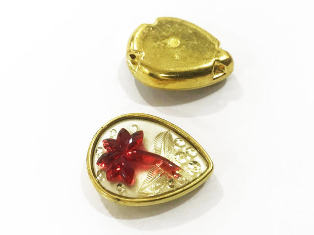 Red Flower Golden Frame Drop Plastic Show Button (25x18 mm)