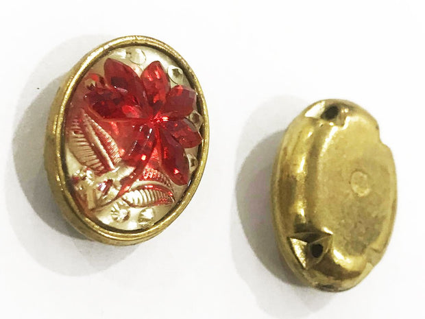 Red Flower Golden Frame Oval Plastic Show Button