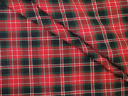 Red Green Black Checks Yarn Dyed Twill Cotton Fabric