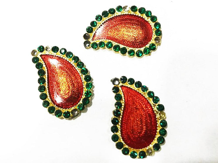 Red Green Paisley Metal Embellishment (With Meenakari Work- 32x22 mm)