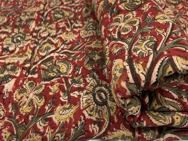 Red Flowers Kalamkari Printed Cotton Fabric