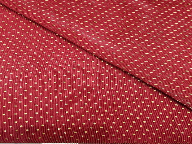 Red Polka Dots Sequins Embroidered Lycra Fabric