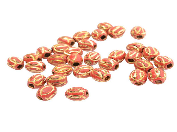 Red Engraved Oval Metal Beads