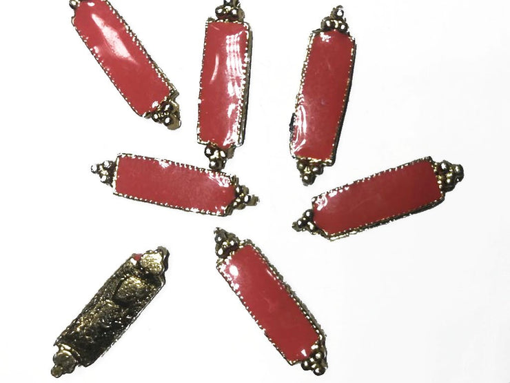 Red Rectangular 2 Hole Metal Embellishment (With Enamel- 28x8 mm)
