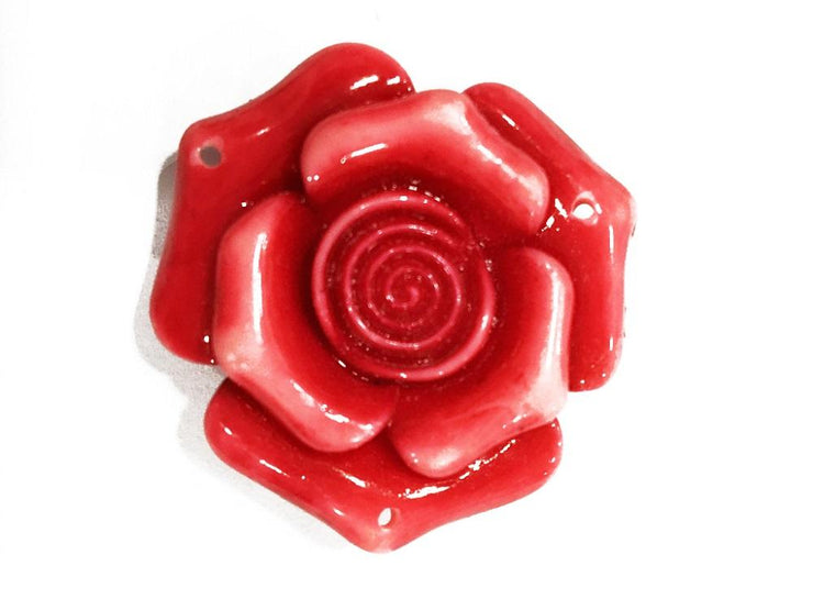 Red Resin Flower Stones (With Hole- 40x40 mm) (4545378123845)