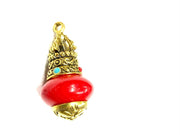 Red Round Stone Pendant with Designer Golden Cap