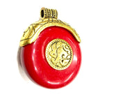 Red Stone Pendant with Designer Golden Cap (40x35 mm)