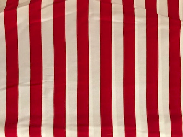 Red White Stripes Printed Rayon Fabric