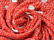 Red White Polka Dots Digital Printed Viscose Crepe Fabric