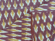 Red Yellow Yarn Dyed Cotton Ikat Fabric