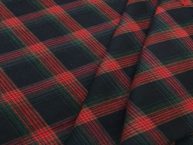 Red and Black Box Checks Yarn Dyed Twill Cotton Fabric