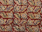 Red Yellow Flowers Kalamkari Printed Cotton Fabric