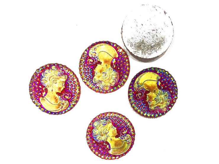 Reddish Rainbow Queen Circular Resin Stones (35 mm) (4533465972805)