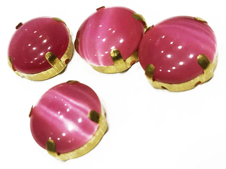 Rose Pink Circular Glass Stone with Catcher (16 mm) (4537625804869)