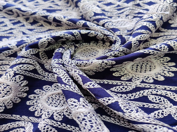 royal-blue-chikankari-embroidered-rayon-fabric