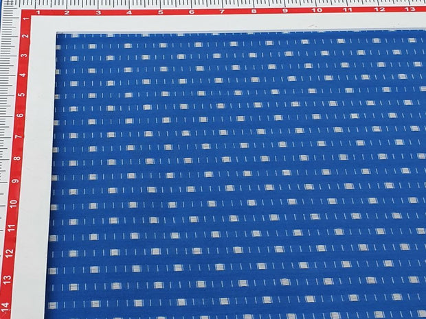 Royal Blue White Geometric Yarn Dyed Dobby Cotton Fabric