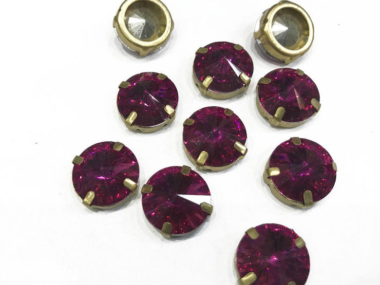 Ruby Pink Circular Resin Stones with Catcher (16 mm)