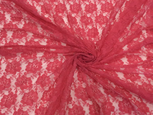 Red Floral Dyeable Nylon Net Fabric
