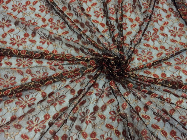 Black Red Floral Dyeable Nylon Net Fabric | The Design Cart