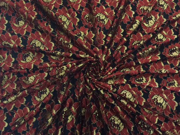 Maroon Golden Flowers Dyeable Nylon Net Fabric | The Design Cart