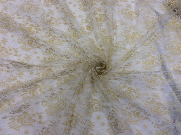 White Floral Dyeable Nylon Net Fabric | The Design Cart