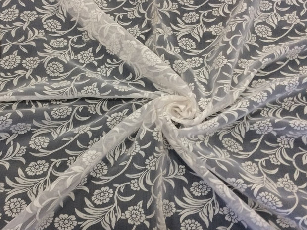 White Floral 2 Dyeable Nylon Net Fabric | The Design Cart